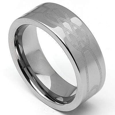PRETTY LASER ENGRAVED CELTIC DESIGN CARBIDE TUNGSTEN RING wholesalekings wholesale silver jewelry