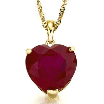 PRICELESS 0.5 CARAT 5MM HEART GENUINE RUBY 10K SOLID YELLOW GOLD PENDANT wholesalekings wholesale silver jewelry