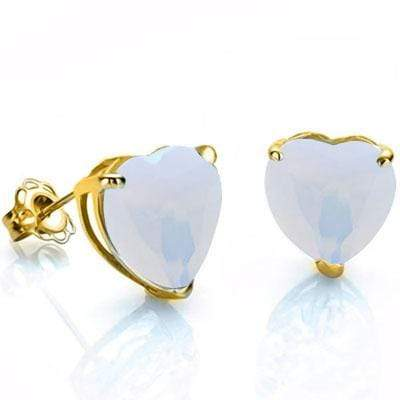 PRICELESS 0.9 CARAT TW (2 PCS) CREATED FIRE OPAL 10K SOLID YELLOW GOLD EARRINGS - Wholesalekings.com