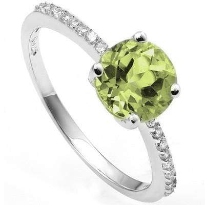 PRICELESS 1.30 CT PERIDOT & 20 PCS CREATED WHITE SAPPHIRE PLATINUM OVER 0.925 STERLING SILVER RING - Wholesalekings.com