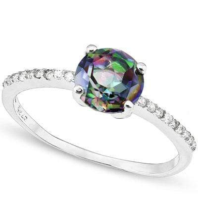 PRICELESS 1.35 CARAT TW  MYSTIC GEMSTONE & CREATED WHITE SAPPHIRE PLATINUM OVER 0.925 STERLING SILVER RING - Wholesalekings.com