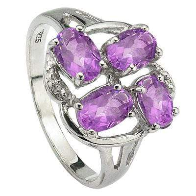 PRICELESS 1.748 CARAT TW (4 PCS) AMETHYST PLATINUM OVER 0.925 STERLING SILVER RING - Wholesalekings.com