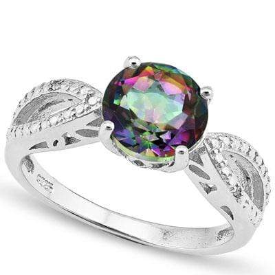 PRICELESS 2.012 CARAT TW MYSTIC GEMSTONE & GENUINE DIAMOND PLATINUM OVER 0.925 STERLING SILVER RING - Wholesalekings.com