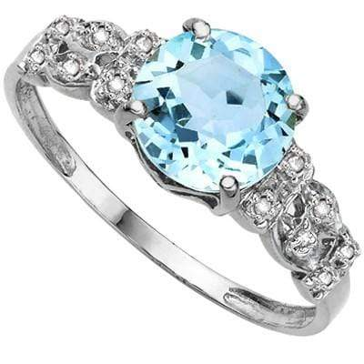 PRICELESS 2.33 CT BLUE TOPAZ & 2 PCS GENUINE DIAMOND 0.925 STERLING SILVER W/ PLATINUM RING wholesalekings wholesale silver jewelry