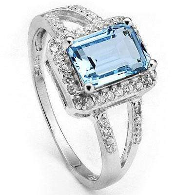 PRICELESS 2.51 CARAT TW BLUE TOPAZ & CUBIC ZIRCONIA PLATINUM OVER 0.925 STERLING SILVER RING - Wholesalekings.com