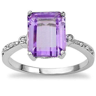 PRICELESS 2.96 CT AMETHYST & 2 PCS GENUINE DIAMOND PLATINUM OVER 0.925 STERLING SILVER RING - Wholesalekings.com