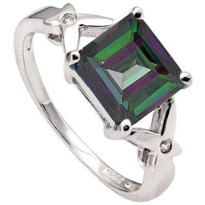 PRICELESS 3.11 CARAT TW MYSTIC GEMSTONE & CUBIC ZIRCONIA PLATINUM OVER 0.925 STERLING SILVER RING - Wholesalekings.com