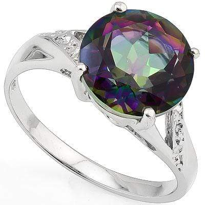 PRICELESS 3.5CARAT TW (1 PCS) MYSTIC GEMSTONE PLATINUM OVER 0.925 STERLING SILVER RING - Wholesalekings.com