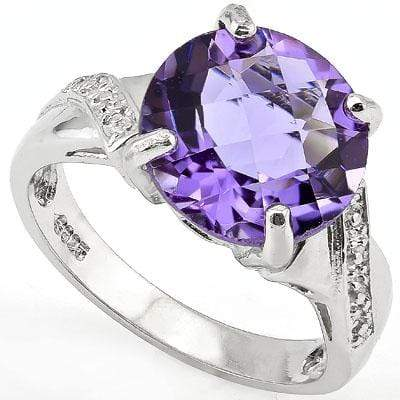 PRICELESS 4.20 CT CHECKERBOARD AMETHYST 0.925 STERLING SILVER W/ PLATINUM RING - Wholesalekings.com