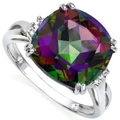 PRICELESS 6.80 CT MYSTIC GEMSTONE & 2 PCS WHITE DIAMOND PLATINUM OVER 0.925 STERLING SILVER RING - Wholesalekings.com