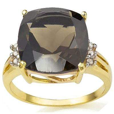 PRICELESS 6.86 CARAT TW (7 PCS) SMOKEY TOPAZ & GENUINE DIAMOND 10K SOLID YELLOW - Wholesalekings.com