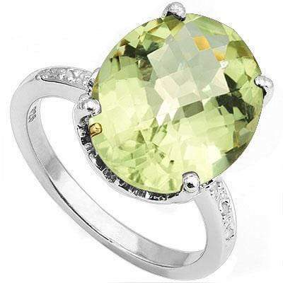 PRICELESS 7.86 CARAT TW GREEN AMETHYST & GENUINE DIAMOND PLATINUM OVER 0.925 STERLING SILVER RING - Wholesalekings.com