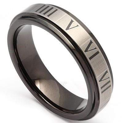 PRICELESS ROMAN NUMERALS LASER ENGRAVED  CARBIDE TUNGSTEN RING - Wholesalekings.com