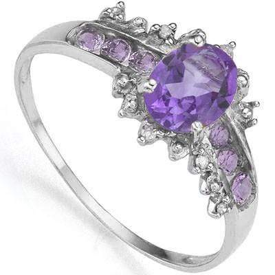 SMASHING 0.80 CT AMETHYST & 6 PCS AMETHYST 0.925 STERLING SILVER W/ PLATINUM  RING wholesalekings wholesale silver jewelry
