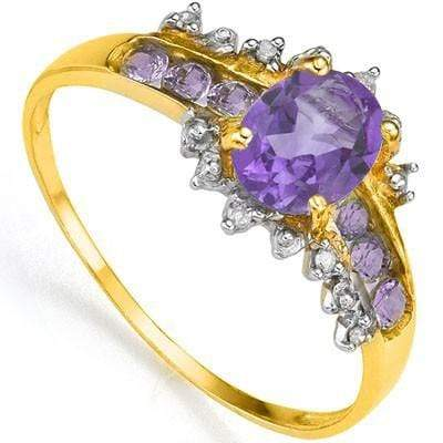 SMASHING 0.80 CT AMETHYST & 6 PCS AMETHYST 24K GOLD PLATED RING - Wholesalekings.com