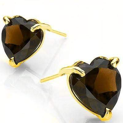 SMASHING 0.90 CT SMOKEY TOPAZ 10K SOLID WHITE GOLD EARRINGS - Wholesalekings.com