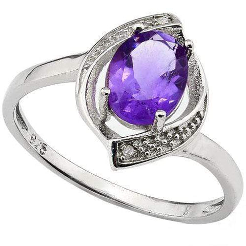 SMASHING 1.21 CARAT TW (3 PCS) AMETHYST & GENUINE DIAMOND PLATINUM OVER 0.925 STERLING SILVER RING - Wholesalekings.com