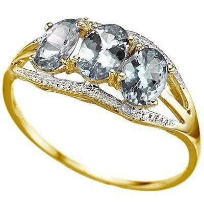 SMASHING 1.21 CT AQUAMARINE & 2 PCS WHITE DIAMOND 10K SOLID YELLOW GOLD RING - Wholesalekings.com