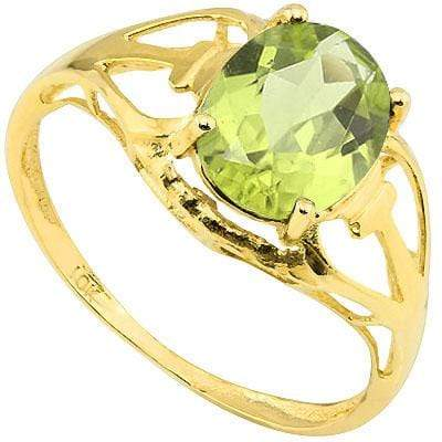 SMASHING 1.63 CT PERIDOT 10K SOLID YELLOW GOLD RING - Wholesalekings.com