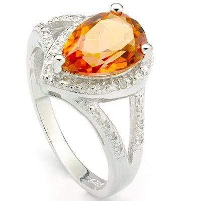 SMASHING 1.95 CT AZOTIC GEMSTONE & 2 PCS GENUINE DIAMOND PLATINUM OVER 0.925 STERLING SILVER RING - Wholesalekings.com