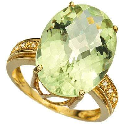 SMASHING 12.55 CARAT TW (7 PCS) GREEN AMETHYST & GENUINE DIAMOND 14K SOLID YELLOW GOLD RING wholesalekings wholesale silver jewelry