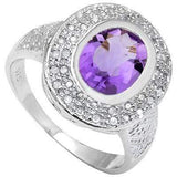 SMASHING 2.28 CT AMETHYST & 2 PCS WHITE DIAMOND PLATINUM OVER 0.925 STERLING SILVER RING - Wholesalekings.com