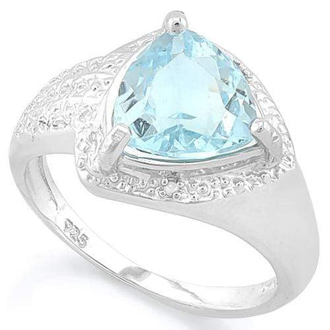 SMASHING ! 2 4/5 CARAT BABY SWISS BLUE TOPAZ & DIAMOND 925 STERLING SILVER RING - Wholesalekings.com