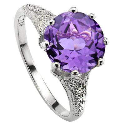 SMASHING 3.34 CT AMETHYST & 2 PCS WHITE DIAMOND PLATINUM OVER 0.925 STERLING SILVER RING wholesalekings wholesale silver jewelry
