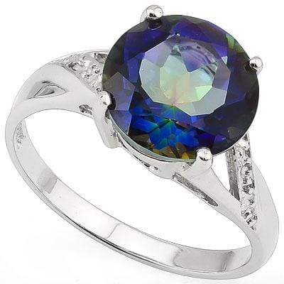 SMASHING 3.5 CARAT TW (1 PCS) BLUE MYSTIC GEMSTONE PLATINUM OVER 0.925 STERLING SILVER RING - Wholesalekings.com