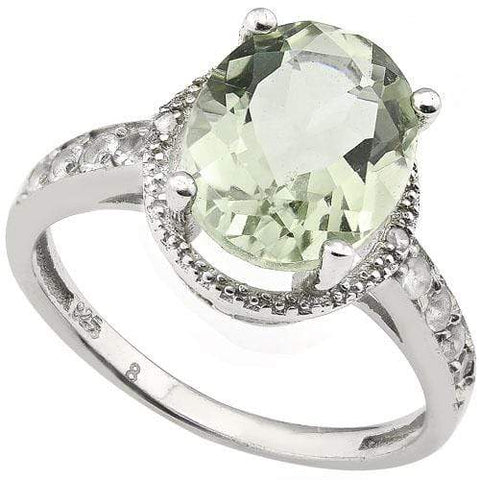SMASHING 3.68 CARAT TW (11 PCS) GREEN AMETHYST & WHITE TOPAZ PLATINUM OVER 0.925 STERLING SILVER RING - Wholesalekings.com