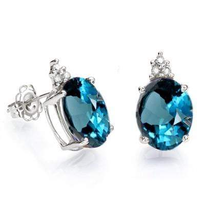 SMASHING 4.52 CT LONDON BLUE TOPAZ & 6 PCS GENUINE DIAMOND 10K SOLID WHITE GOLD - Wholesalekings.com
