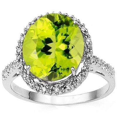 SMASHING 4.65 CT PERIDOT & 22 PCS WHITE DIAMOND 10K SOLID WHITE GOLD RING wholesalekings wholesale silver jewelry