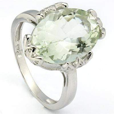 SMASHING 5.36 CT GREEN AMETHYST & 2 PCS GENUINE DIAMOND PLATINUM OVER 0.925 STERLING SILVER RING - Wholesalekings.com
