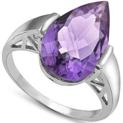 SMASHING 6.05 CARAT TW  AMETHYST PLATINUM OVER 0.925 STERLING SILVER RING - Wholesalekings.com