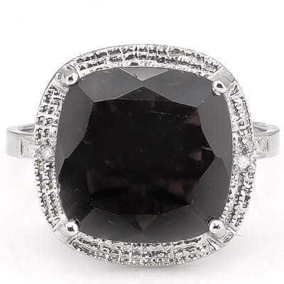 SMASHING 6.85 CT GENUINE BLACK SAPPHIRE & 2 PCS WHITE DIAMOND PLATINUM OVER 0.925 STERLING SILVER RING - Wholesalekings.com