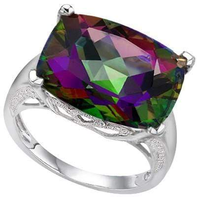 SMASHING 9.34 CT MYSTIC GEMSTONE & 2 PCS WHITE DIAMOND 0.925 STERLING SILVER W/ PLATINUM RING - Wholesalekings.com