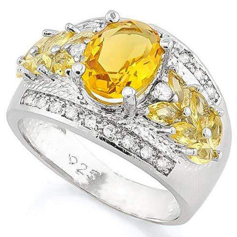 SMASHING ! CREATED CITRINE 925 STERLING SILVER RING - Wholesalekings.com