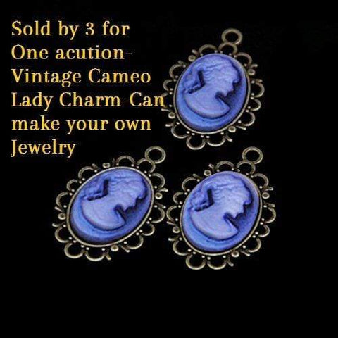 Sold by 3 for One acution-Vintage Cameo Lady Charm-Can make your own Jewelry accessories for DIY jewelry wholesalekings wholesale silver jewelry