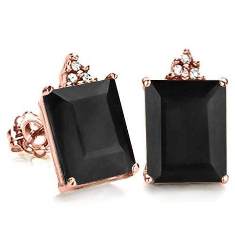 SOLID 10KT ROSE GOLD OCTAGON 2.15CT MIDNIGHT BLUE SAPPHIRE  AND 6 DIAMONDS EARRINGS STUD - Wholesalekings.com