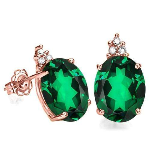SOLID 10KT ROSE GOLD OVAL 2.48CT CREATED EMERALDT  AND 6 DIAMONDS EARRINGS STUD - Wholesalekings.com