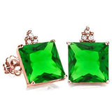 SOLID 10KT ROSE GOLD SQUARE SHAPE 1.80 CREATED EMERALD  AND 6 DIAMONDS EARRINGS STUD - Wholesalekings.com