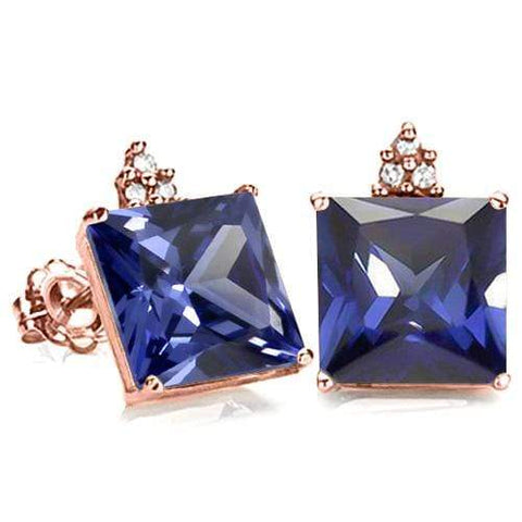 SOLID 10KT ROSE GOLD SQUARE SHAPE 23.19CT CREATED TANZANITE AND 6 DIAMONDS EARRINGS STUD - Wholesalekings.com