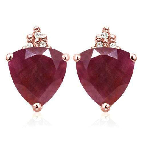 SOLID 10KT ROSE GOLD TRILLION SHAPE 1.93CT RUBY AND 6 DIAMONDS EARRINGS STUD wholesalekings wholesale silver jewelry