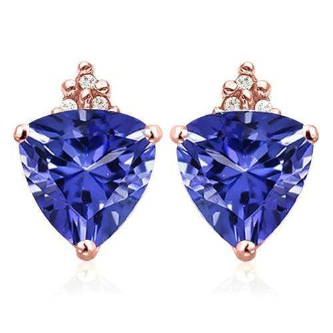 SOLID 10KT ROSE GOLD TRILLION SHAPE 2.27CT CREATED TANZANITE AND 6 DIAMONDS EARRINGS STUD - Wholesalekings.com