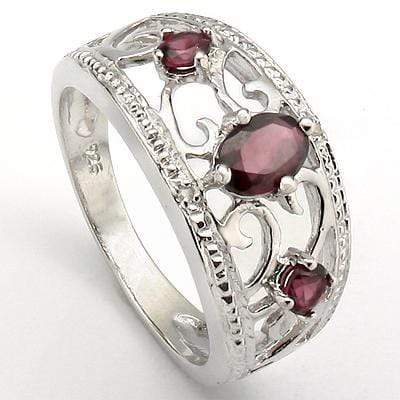 SPARKLING 0.67 CT GARNET & 2 PCS GARNET PLATINUM OVER 0.925 STERLING SILVER RING - Wholesalekings.com