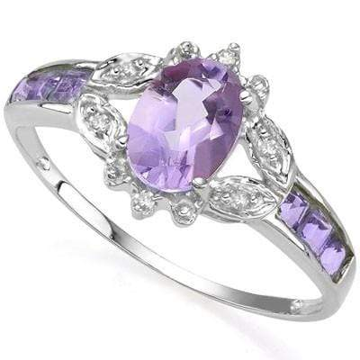 SPARKLING 0.80 CT AMETHYST & 6 PCS AMETHYST 0.925 STERLING SILVER W/ PLATINUM  RING wholesalekings wholesale silver jewelry