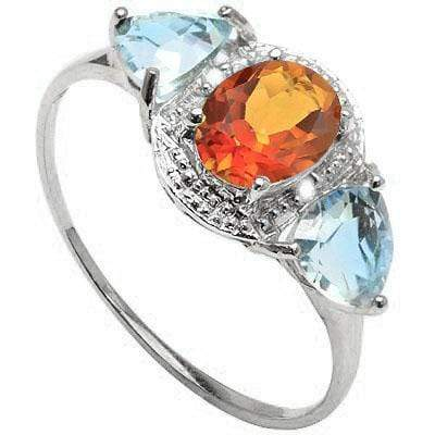 SPARKLING 1.1 CARAT TW (5 PCS) AZOTIC GEMSTONE & BLUE TOPAZ PLATINUM OVER 0.925 STERLING SILVER RING - Wholesalekings.com