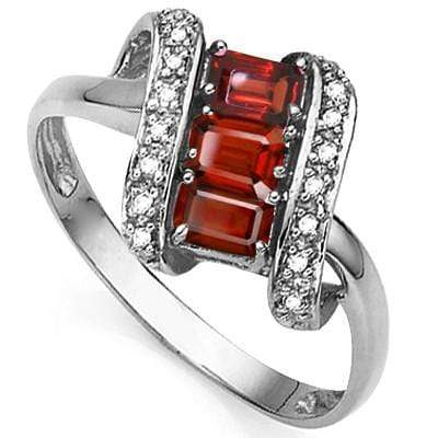 SPARKLING 1.18 CT GARNET & 2 PCS GENUINE DIAMOND 0.925 STERLING SILVER W/ PLATINUM RING - Wholesalekings.com