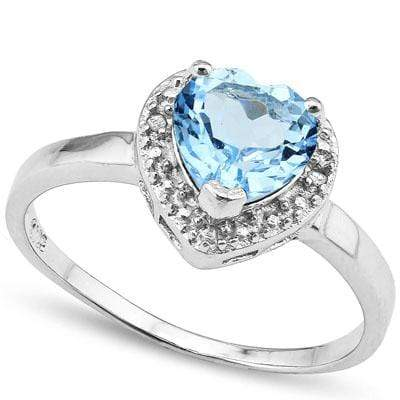 SPARKLING 1.25 CT BLUE TOPAZ & 2 PCS WHITE DIAMOND PLATINUM OVER 0.925 STERLING SILVER RING wholesalekings wholesale silver jewelry