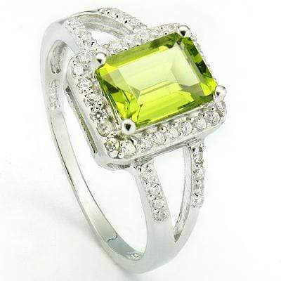 SPARKLING 1.55 CT PERIDOT & 28 PCS CREATED WHITE SAPPHIRE PLATINUM OVER 0.925 STERLING SILVER RING - Wholesalekings.com